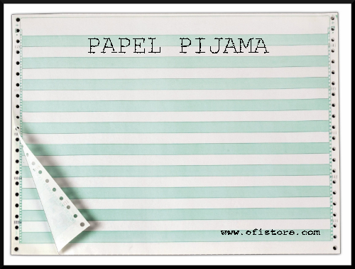 Papel pijama de color blanco y verde