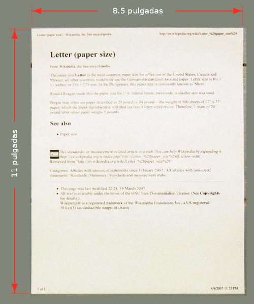 Dimensiones del formato carta