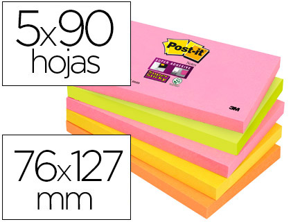 Pack 5 Post-It SuperSticky 76x127 mm