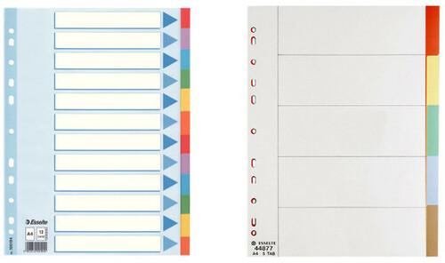 Separadores de colores para archivadores