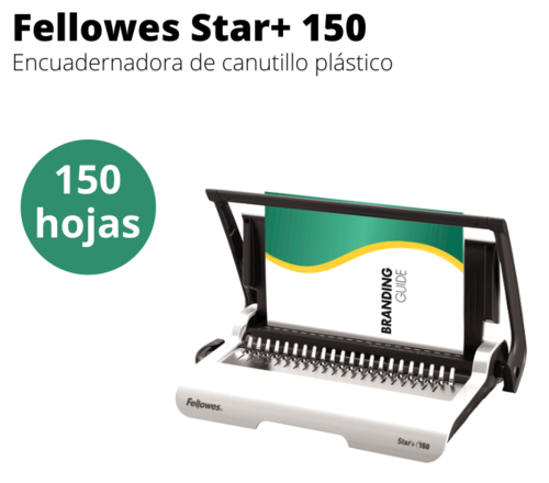 Encuadernadora canutillo plástico Fellowes Star 150+