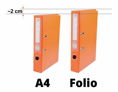 Diferencia altura archivador folio y A4