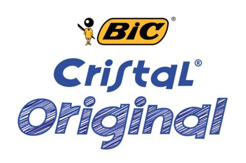Logo y muestra de escritura del bolígrafo Bic Cristal original