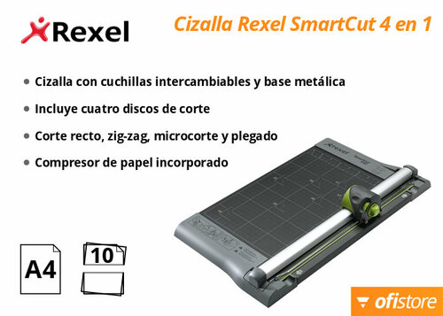 Cizalla de papel Rexel Smart Cut cuatro en uno