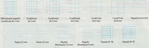 Tipos de rayado de cuadernos