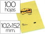 Comprar notas Post-It cuadriculadas amarillas de 102x152 mm