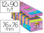 Bloc notas Post-It super sticky 76x76 mm, 90 hojas, colores surtidos, 24 tacos