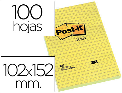 Notas Post-It cuadriculadas 102x152