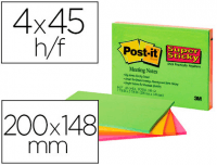 Notas Post-it super sticky de 200x149 mm, 45 hojas, pack 4 blocs