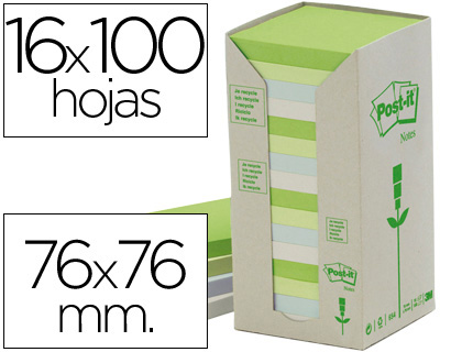 Paquete 16 Blocs Notas Post-It Recicladas Colores Pastel 76x76