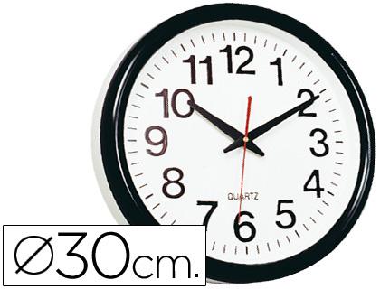 15905d673ccd Reloj de pared con marco negro y fondo blanco 28 cm