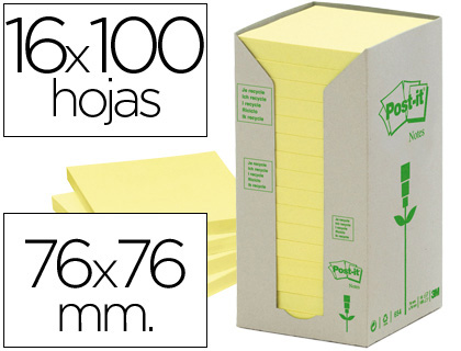 Notas Post-It recicladas amarillas