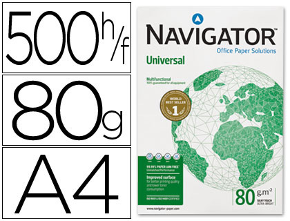 Papel Navigator Universal A4 80g, 5 paquetes folios 500h