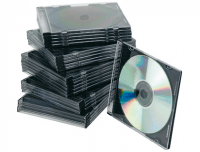 Pack 25 cajas CD/DVD Slim negra y transparente