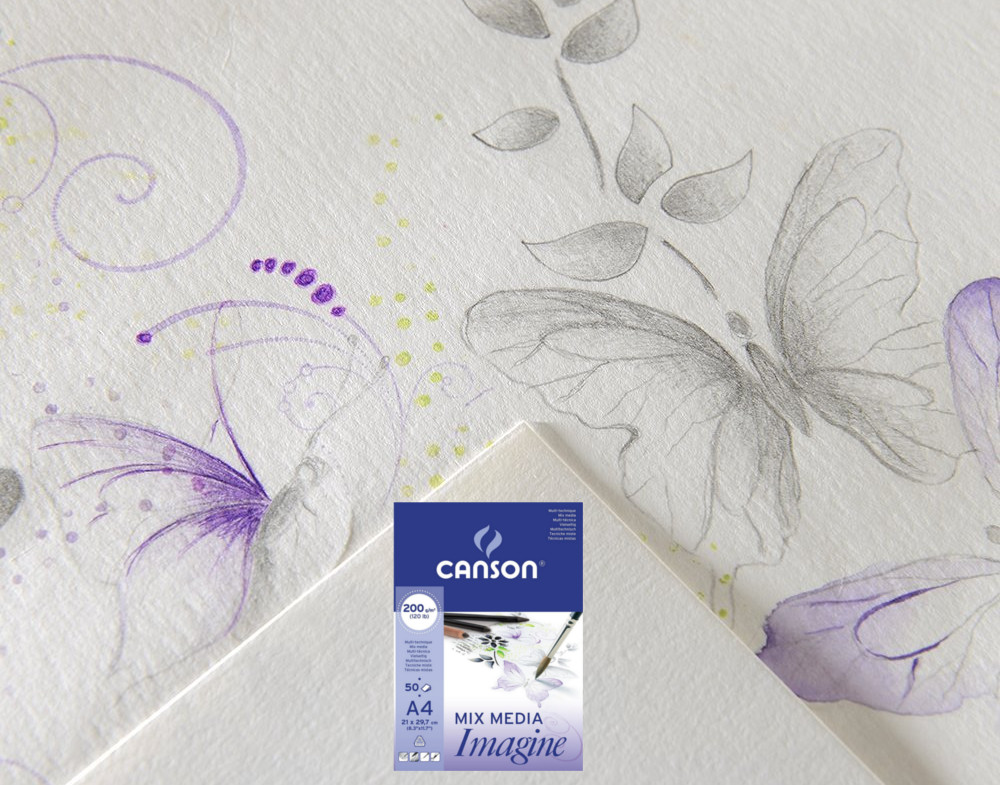 Papel mix media Canson Dessin Blanc Imagine