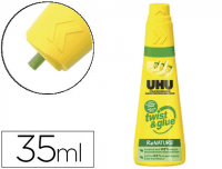 Adhesivo Universal UHU Twist and Glue, sin disolventes, bote 35 ml