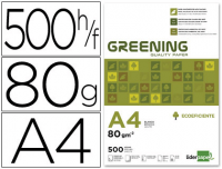 Papel blanco A4 80 g, Greening, 5 paquetes folios 500h