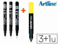 Set de calibrados negros Artline Comic Pen 0.2-0.4-0.8 + fluorescente